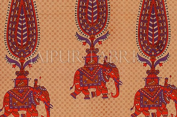 Red Border Leaf With Elephant Print Fine Cotton Double Bed Sheet