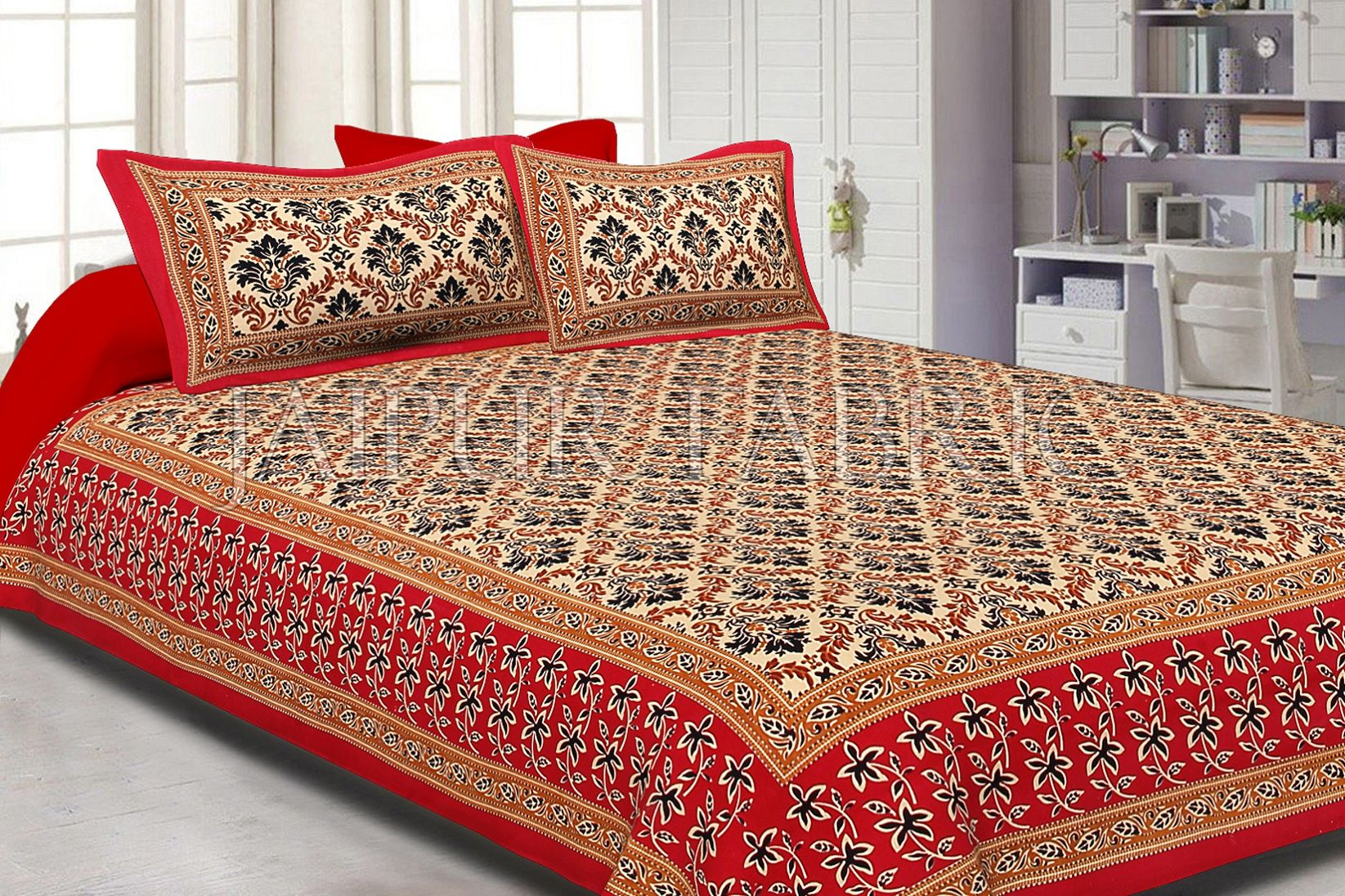 Red Border With Tropical Floral Print Cotton Double Bed Sheet