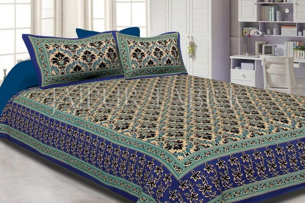 Navy Blue With Tropical Floral Print Cotton Double Bed Sheet
