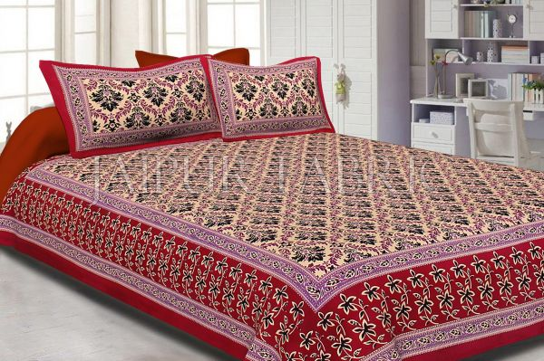 Maroon Border With Tropical Floral Print Cotton Double Bed Sheet