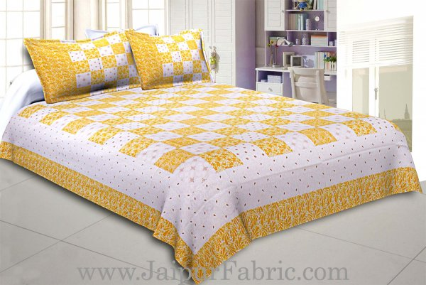 Double Bedsheet Checkered Lemon Yellow Golden Print