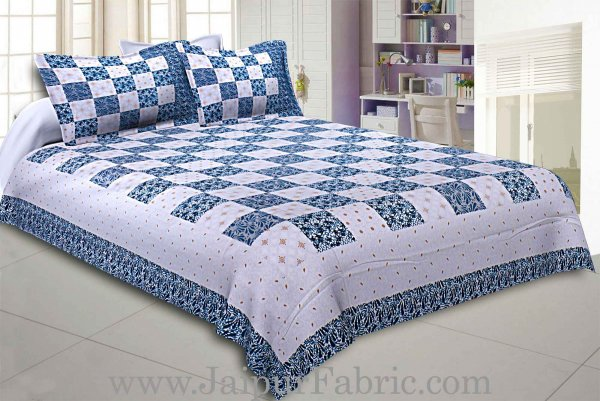 Double Bedsheet Checkered Blue Golden Print
