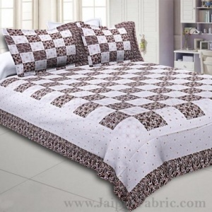 Double Bedsheet Checkered Chocolate Golden Print