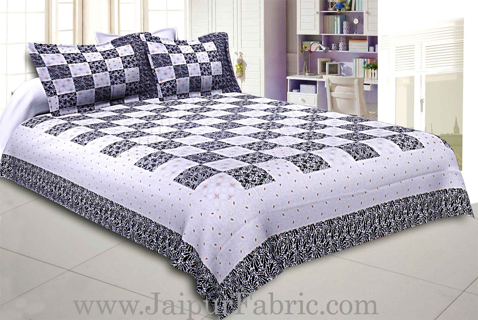 Double Bedsheet Checkered Black Golden Print