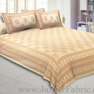 Double Bedsheet Elegant Brown Golden Flowery Print