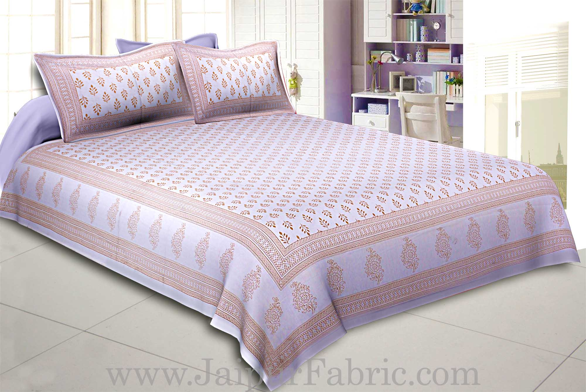 Double Bedsheet Off-white Base Golden Leafy Block Print