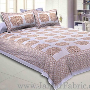 Double Bedsheet Offwhite Base Golden Rangoli Block Print