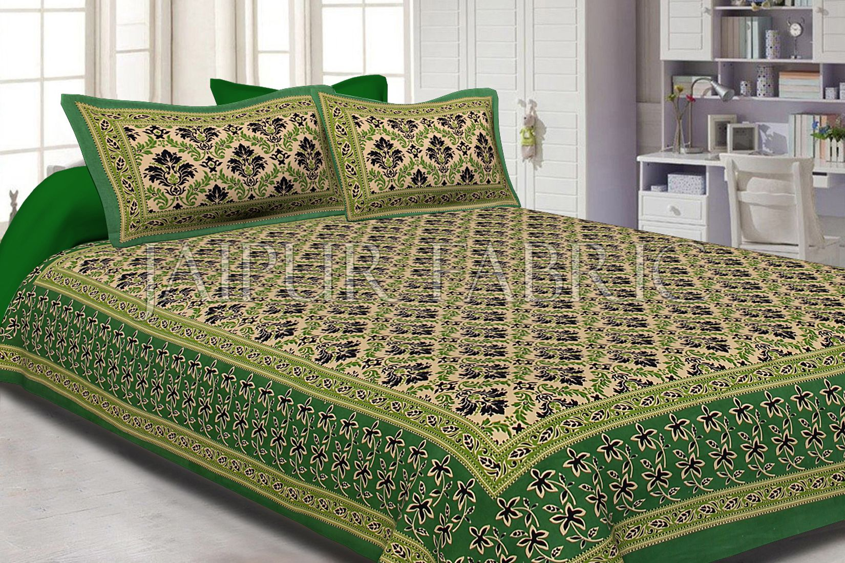 Green With Tropical Floral Pattern Cotton Double Bed Sheet