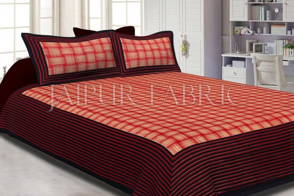 Black Border With Lining Check Pattern Cotton Double Bed Sheet