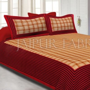 Orange Border With Lining Check Pattern Cotton Double Bed Sheet