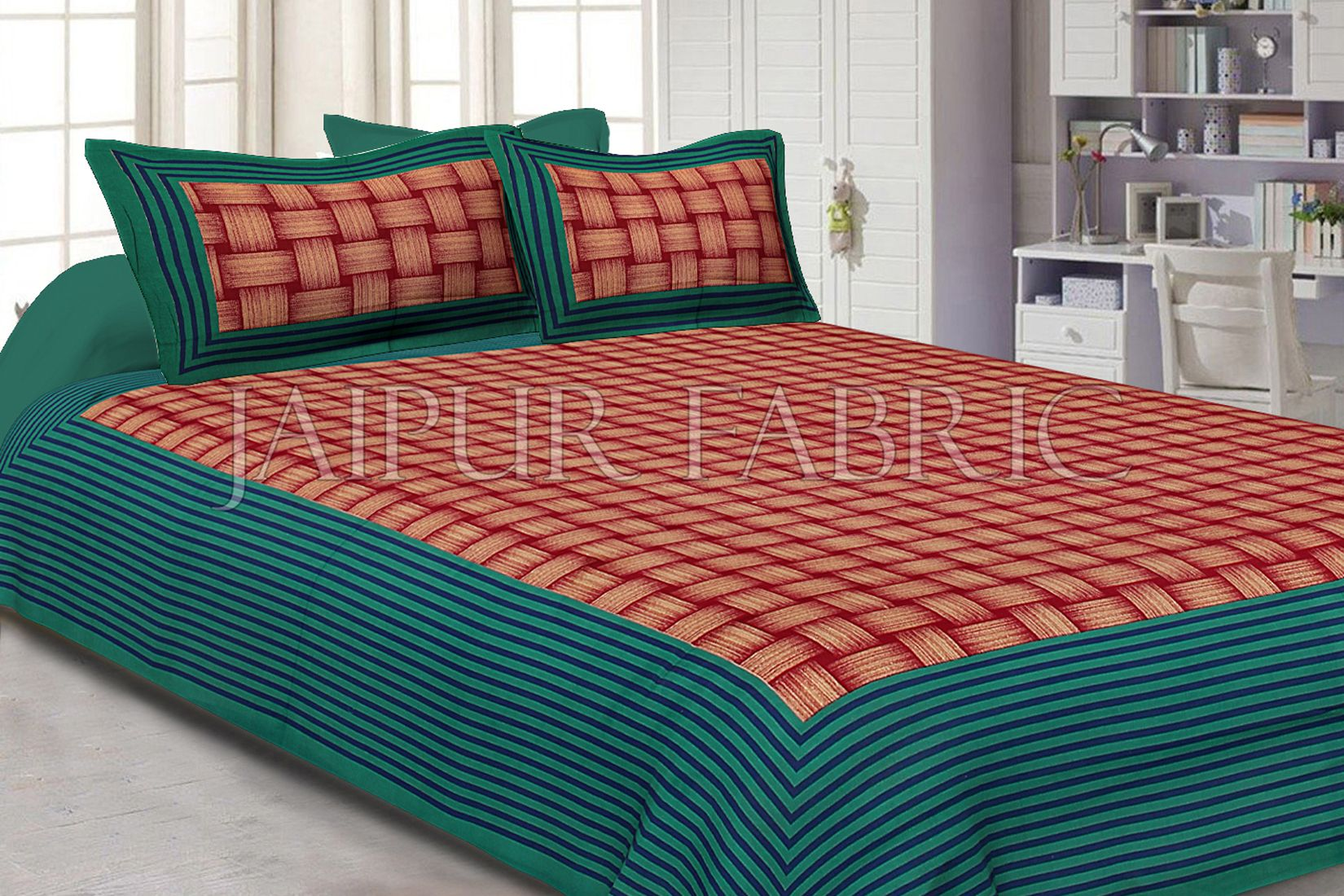 Green Border With Lining Check Pattern Cotton Double Bed Sheet