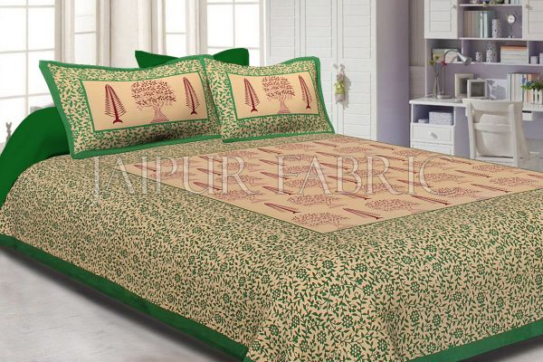 Green Border Light Brown Base With Flower and Plant Pattern Cotton Double Bed Sheet