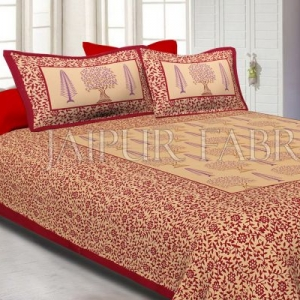 Maroon Border Light Brown Base With Flower and Plant Pattern Cotton Double Bed Sheet