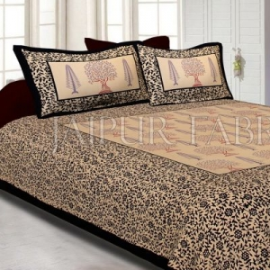 Black Light Brown Base With Flower and Plant Pattern Cotton Double Bed Sheet
