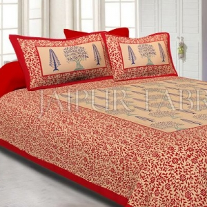 Red Light Brown Base With Flower and Plant Pattern Cotton Double Bed Sheet