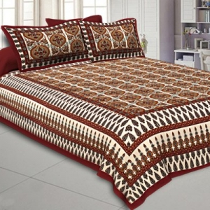 Double Bedsheet With Small Floral Print With Two Pillow Cover