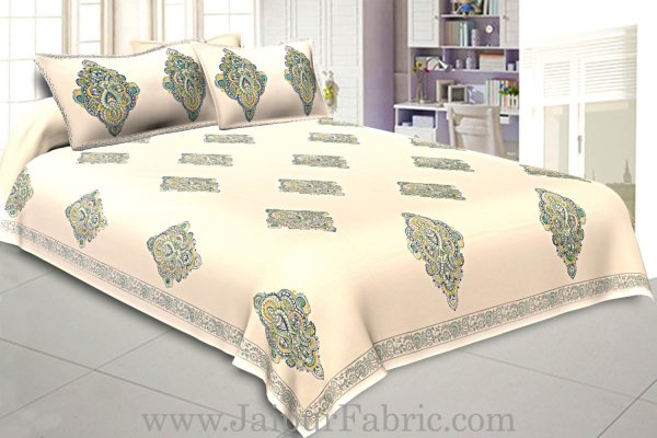 Double Bedsheet Smooth Touch Cotton Paisley Print With Two Pillow Cober