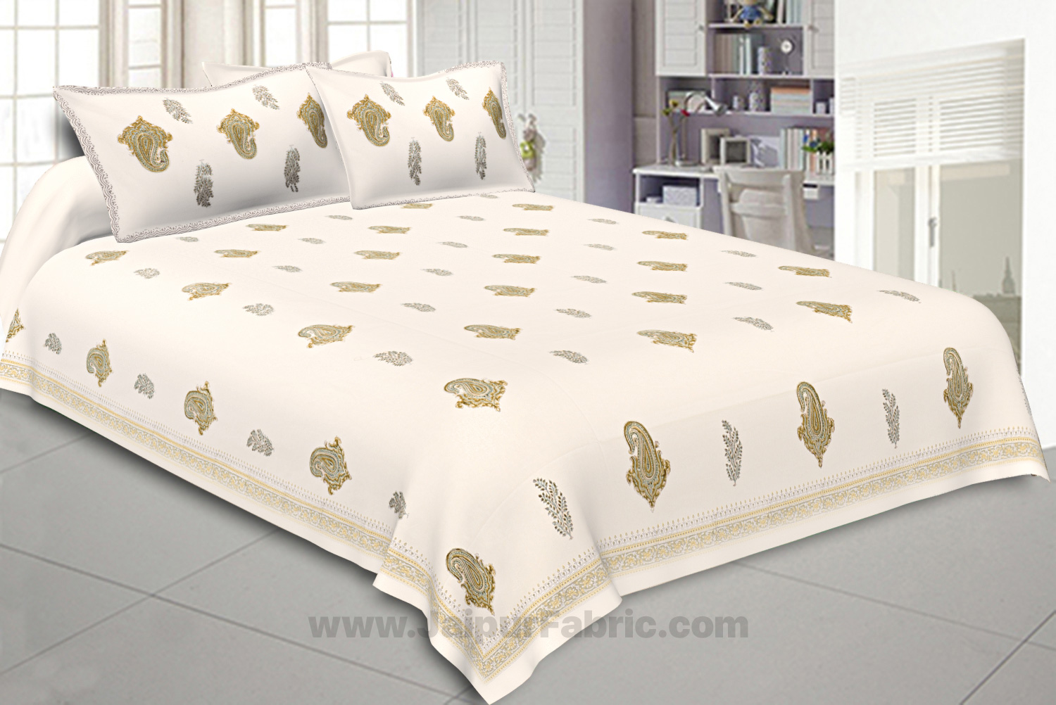 Double Bedsheet Smooth Cotton Paisley Print With Two Pillow Cover