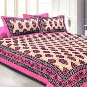 Pink Border Keri Print Cotton Double Bed Sheet
