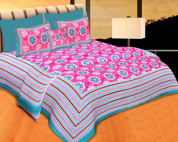 Sea Green Border Pink Base Floral Print Cotton Double Bedsheet