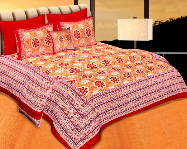 Red  Border Orange Base Floral Print Cotton Double Bedsheet