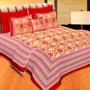 Red  Border Orange Base Floral Print Cotton Double Bedsheet