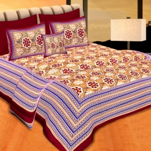 Maroon Border Yellow Base Floral Print Cotton Double Bed Sheet