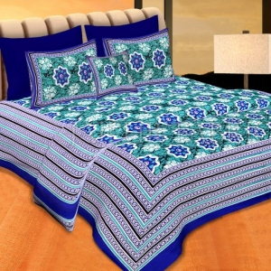 Blue Border Green Base Floral Print Cotton Double Bedsheet