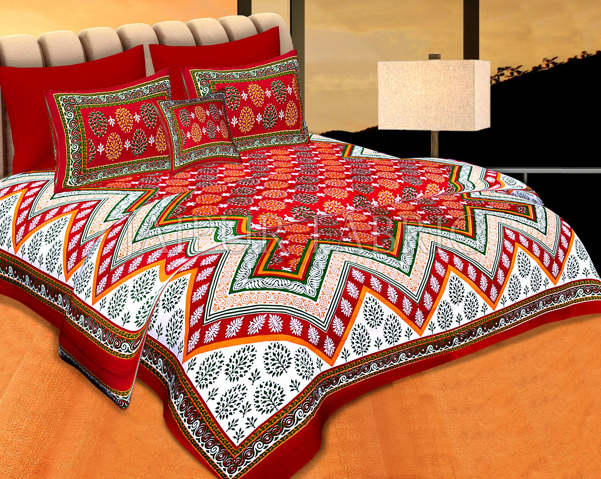 Maroon Border Red Base Zigzag Pattern Cotton Double Bed Sheet
