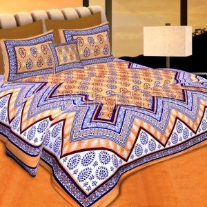 Peach Border Peach Base Zigzag Pattern Cotton Double Bedsheet