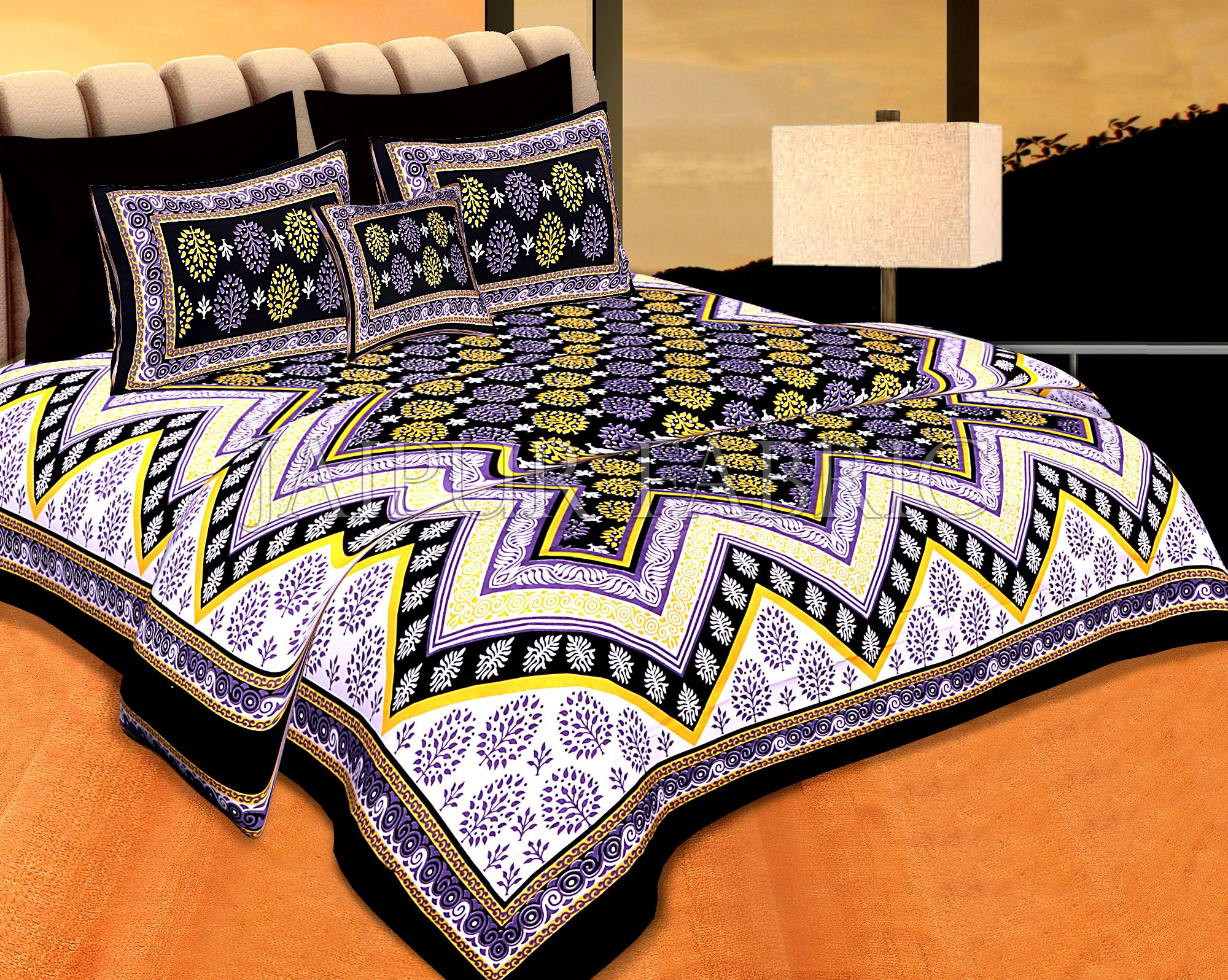 Black  Border Gray Base Zigzag Pattern Cotton Double Bedsheet