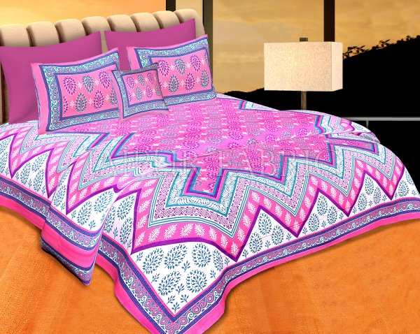 Pink Border Pink  Base Zigzag Pattern Cotton Double Bedsheet