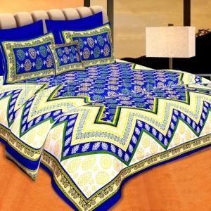 Blue Border Blue Base Zigzag Pattern Cotton Double Bedsheet