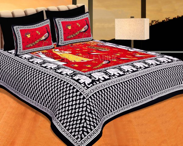 Black Border Red Base Meera With Peacocks Cotton Double Bedsheet