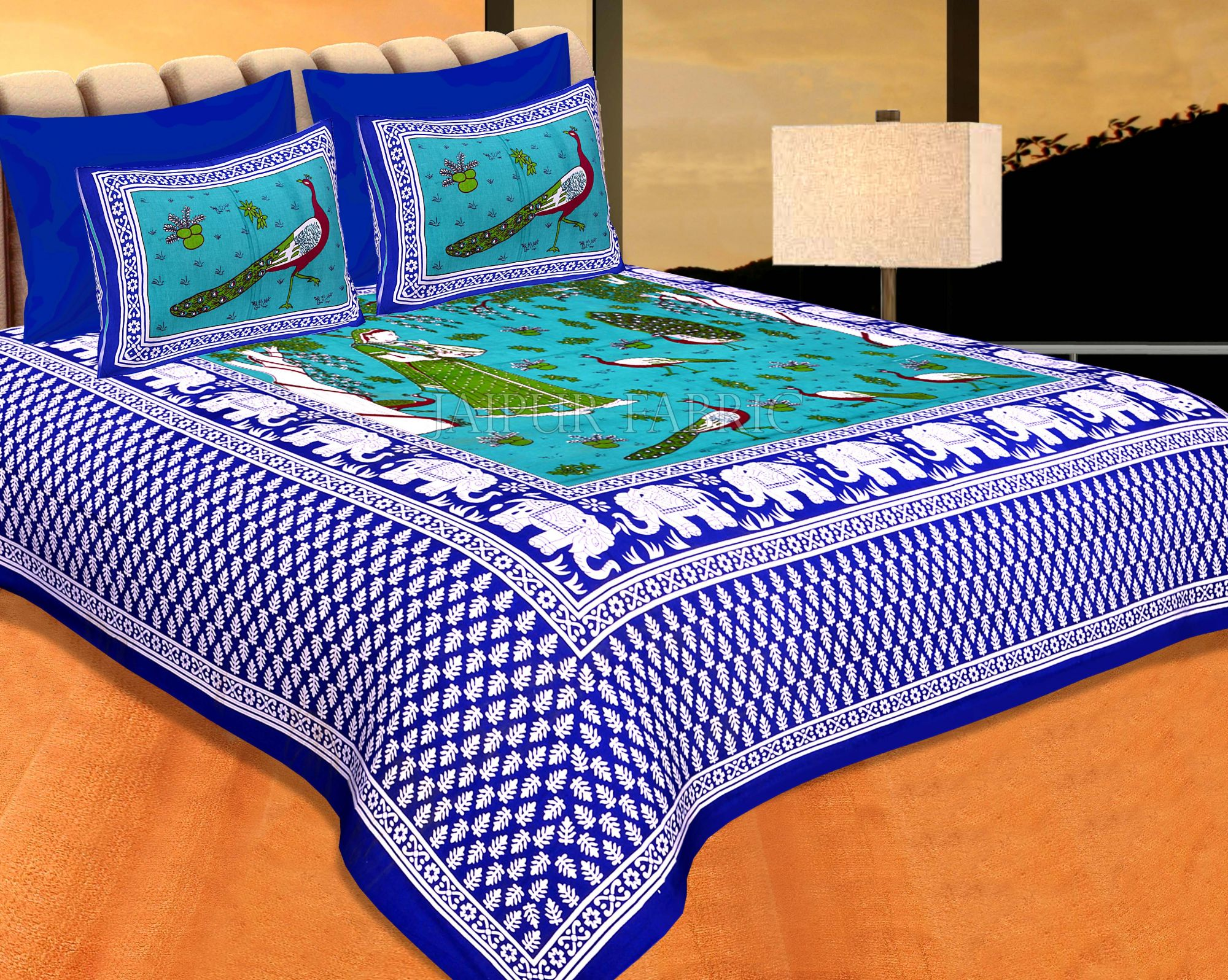 Neavy Blue Border Green Base Meera With Peacocks Cotton Double Bedsheet