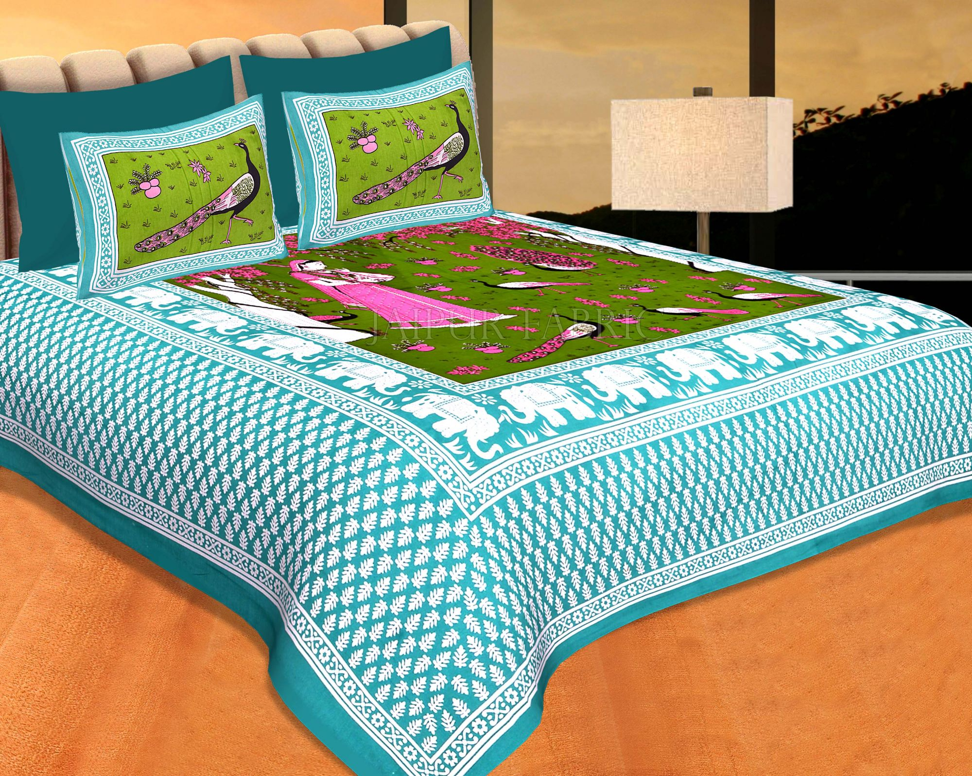 Green Border Dark Green Base Meera With Peacocks Cotton Double Bedsheet