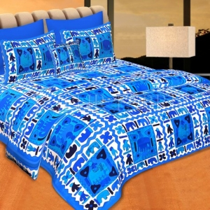 Blue Border Blue Base Check With Hathi And Paan Print Coton Double Bedsheet
