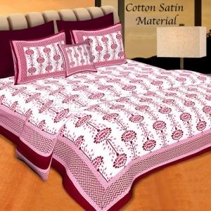 Maroon Border Cream Base Linear Floral Cotton Satin Hand Block Double Bedsheet