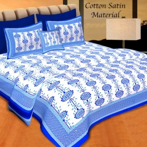 Blue Border Cream Base Linear Floral Cotton Satin Hand Block Double Bedsheet