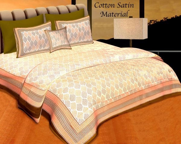 Green Border Cream Base Leaf Pigment Cotton Satin Hand Block Double Bedsheet