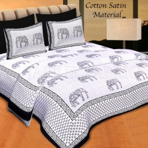 Black Borer Cream Base Black Elephant Cotton Satin Hand Block Double Bedsheet