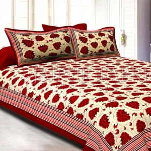 Mahroon Border Lining Frame With Mahroon Grapes Bunch Cotton Satin Double Bedsheet With Two Pillow
