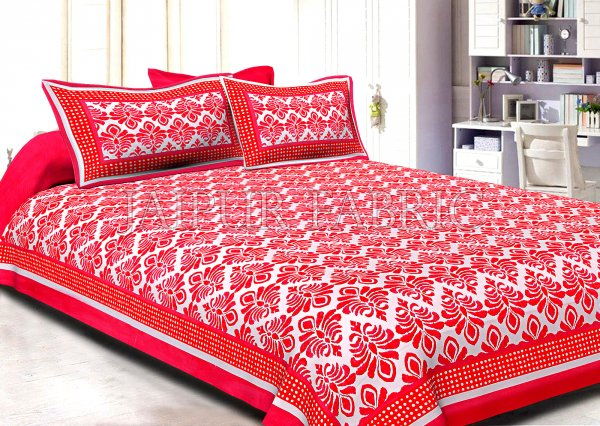Dark Pink Polka Frame Whit Base Blue Flower Print Super Fine Poplin Cotton Double Bedsheet With Two Pillow