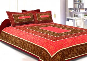 Maroon Border GoldeN Barat In Rectangle Pattern Super Fine Cotton Double Bedsheet