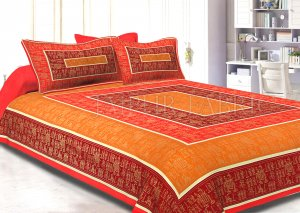 Orange Border Golden Barat In Rectangle Pattern Super Fine Cotton Double Bedsheet