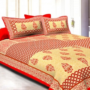 Red Border Creame Base With Rangoli And Gamala Printin Designer Pattern Fine Cotton Poplin Double Bedsheet With Two Pillow