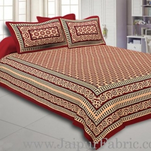 Maroon Border Cream Base Small Circle Bagru Print Cotton Double Bedsheet