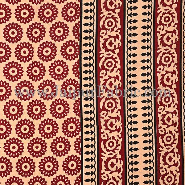 Maroon Border Cream Base Small Circle Bagru Print Cotton Double Bedsheet