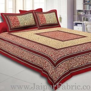 Maroon Border Cream Base In Rectangle Bagru Print Cotton Double Bedsheet