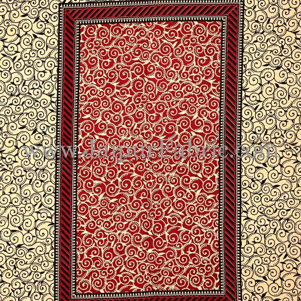 Maroon Border Cream Base In Rectangle Bagru Print Cotton Double Bedsheet